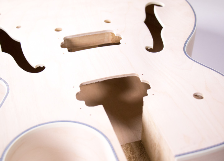 Closeup View of the Top of the Body for The Sharp Arch Hollow Body Build Your Own Guitar Kit