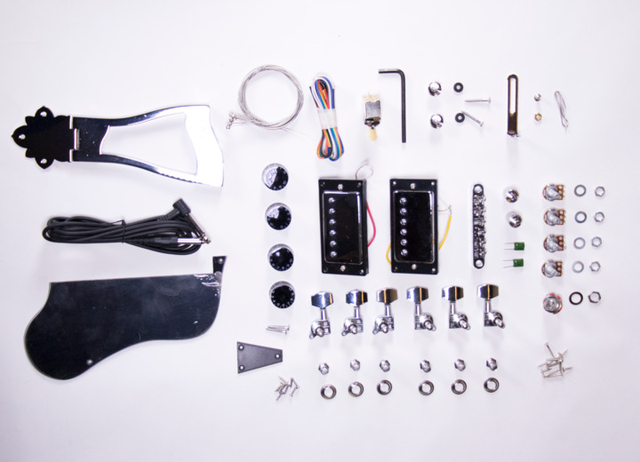 A Closer look at the Contents for The Sharp Arch Hollow Body Build Your Own Guitar Kit