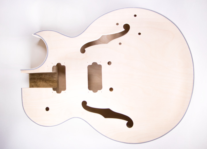 Front View of The Sharp Arch Hollow Body Build Your Own Guitar Kit