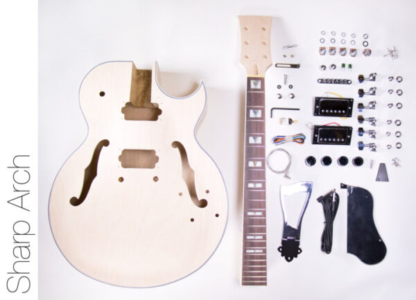 Everything that Comes With The Sharp Arch Hollow Body Build Your Own Guitar Kit