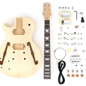 Everything that Comes With The Left Handed Single-cut Semi-Hollow Build Your Own Guitar Kit