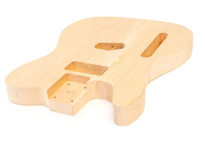 Angled View of The Left Handed TL Style Build Your Own Electric Guitar Kit