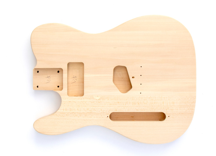 Front View of The Left Handed TL Style Build Your Own Electric Guitar Kit