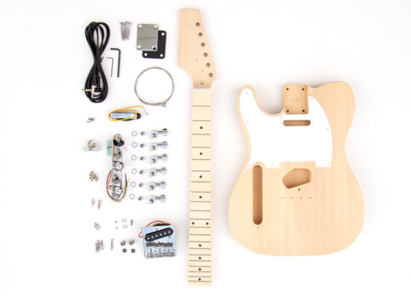 Everything that Comes With The Left Handed TL Style Build Your Own Electric Guitar Kit